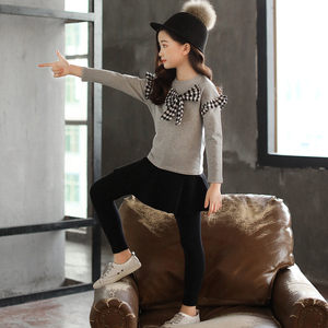 Image 4 - Комплект одежды для девочек, рубашка с бантом + леггинсы, осенний костюм из 2 предметов для девочек, зимняя детская одежда, повседневная одежда для девочек подростков 4, 6, 8, 12 лет