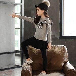 Image 4 - 女の子服セット弓シャツ + レギンス 2 個秋のスーツ冬の子供服カジュアル十代の少女の服 4 6 8 12 年