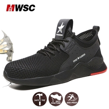 MWSC Summer Man Safety Shoes Steel Cap Breathable Safety Shoes for Man Work Boots Anti-smashing Anti-puncture lightweight цены