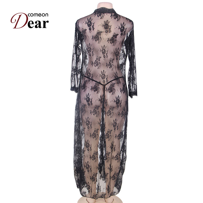 Image 5 - Comeondear 5XL Plus Size Lace Night Dress For Sex Long Sleeve Robe Femme Dentelle Woman See Through Black Night Gown RB80232-in Robes from Underwear & Sleepwears