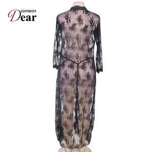 Image 5 - Comeondear 5XL Plus rozmiar koronki sukienka wieczorowa na seks szlafrok z długim rękawem Femme Dentelle kobieta przez czarny koszula nocna RB80232
