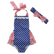 Newborn Infant Baby Boy Girl Kids Cotton Backless US Flag Star Romper Jumpsuit+Bownot Headband Clothes Outfit