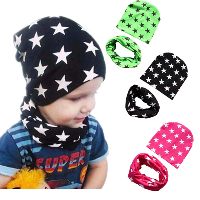 Autumn Winter Warm Baby Hat With Scarf Cotton Toddler Infant Kids Caps Scarves Collar Star Print Boys Girls Hats Set 0-48MAutumn Winter Warm Baby Hat With Scarf Cotton Toddler Infant Kids Caps Scarves Collar Star Print Boys Girls Hats Set 0-48M