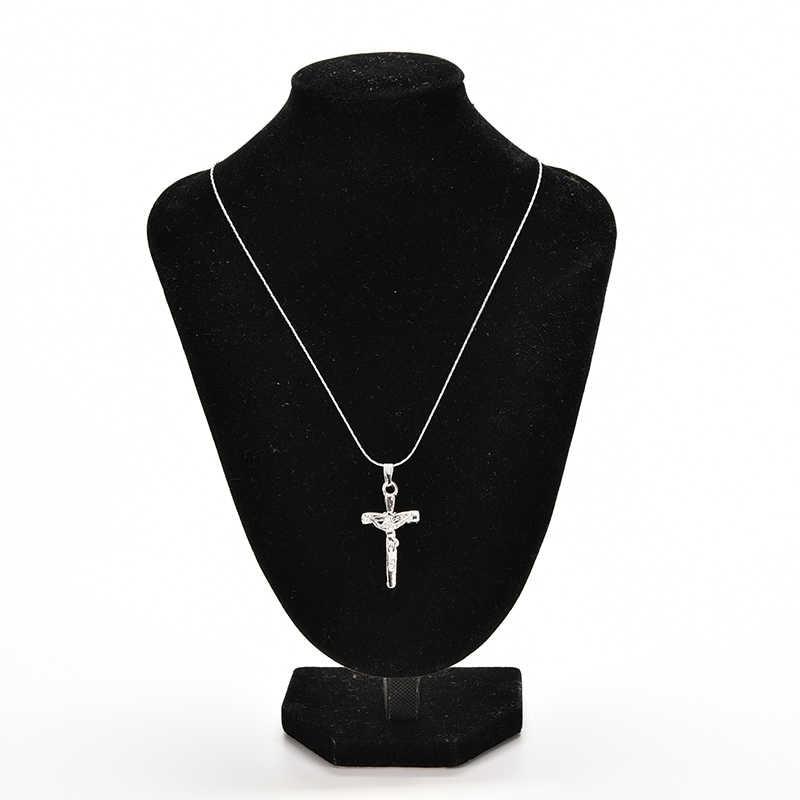 Stal nierdzewna Sliver łańcuszek z krzyżykami naszyjnik w stylu Vintage naszyjnik biżuteria prezent gorąca sprzedaż dla kobiet mężczyzn