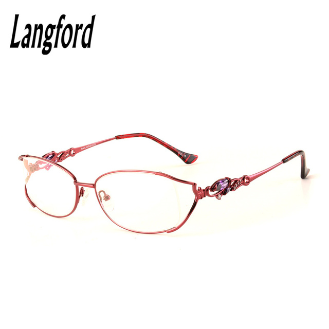 d7662d51795f Big frame woman full Eye Glasses Fashionable Lady Oval Optical golden  spectacles height 33mm75038