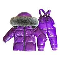 2019 New Winter Suit for Girls Boys Duck Down Children's Clothing Sets Girls Coat Overalls Set Warm Jacket Girl Set