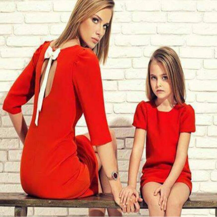 Mode bowknot maman et enfants couple look famille correspondant tenues bébé fille femme robe mère fille enfants robe vêtements