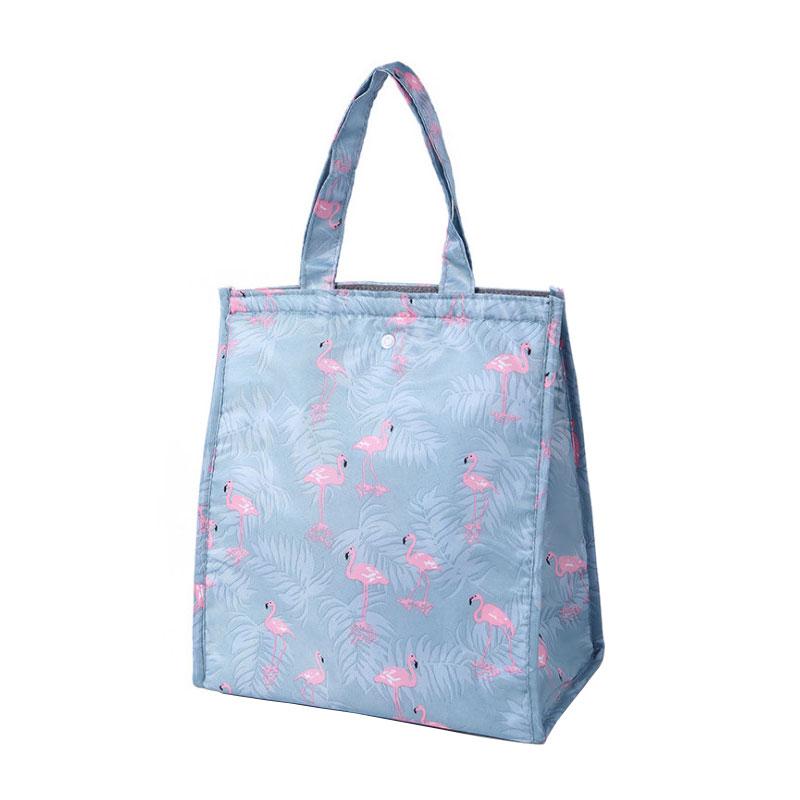 Cute Pattern Prints Inner Aluminum Foil Food Cooler Bag Waterproof Polyester Hoop And Loop Opening Folding Thermal Lunch Bag