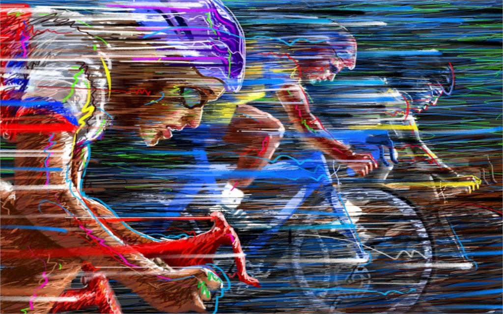 Спортивный велосипед Гонка Скорость изделие Велосипеды цифровой векторных иллюстраций гостиная Главная Wall Art декор деревянной раме ткань ...