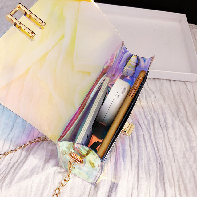 Women Transparent Bag Clear PVC Jelly Small Tote Messenger Bags Laser Holographic Shoulder Bags Female Lady Sac Femme Bandoulier 5