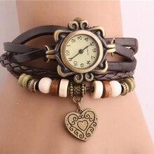 Ladies Watches Women Dress Vintage Weave Wrap Rivet Leather Bracelet Wrist Watch For Women Sport Clock Watch Relogio Feminino