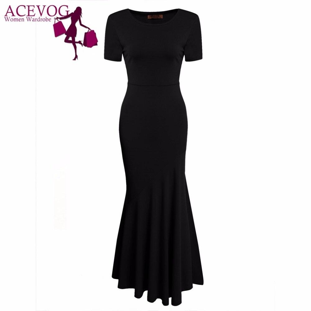 ACEVOG Frauen Vintage Kleid Meerjungfrau Schwanz Kurzarm Oansatz - Damenbekleidung - Foto 3