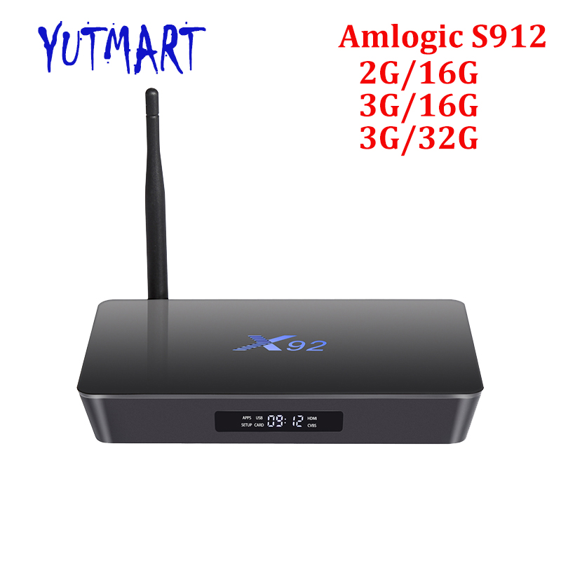 External Antenna LED Display H.265 4K Support 5.0G Wifi 2GB DDR3 16GB eMMC Octa Core Smart Android 6.0 Amlogic S912 TV Box X92 10pcs vontar x92 3gb 32gb android 7 1 smart tv box amlogic s912 octa core cpu 2 4g 5g 4k h 265 set top box smart tv box