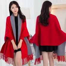 נשים חורף פונצ ו עם שרוול וכורכת פשמינה אדום לעבות צעיף גלימות Femme Hiver חם הפיך שכמיות וגלימות