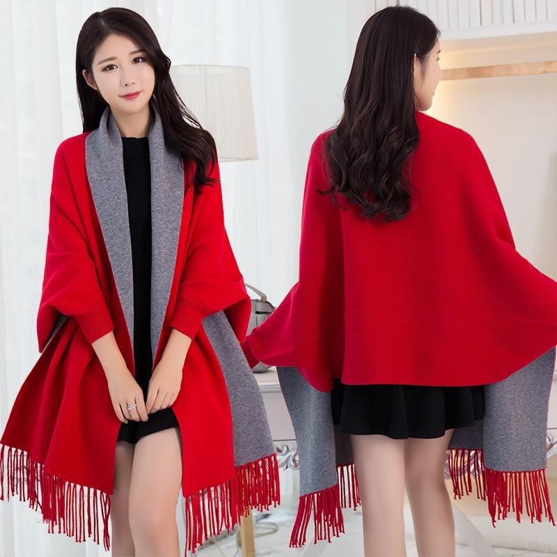 Poncho d'hiver Femme avec manches châles et enveloppes Pashmina rouge épaissir écharpe étoles Femme Hiver chaud réversible Ponchos et Capes