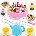 Rosa Engraçado 54 pcs Play Set Caçoa o Presente de Aniversário Bolo de Comida de Plástico com o Corte de Faca Bule de Chá e Copos de Bebê brinquedos