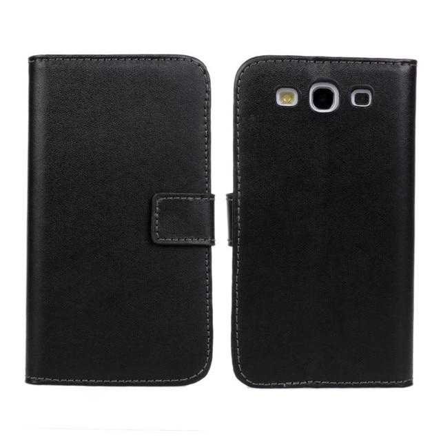 S3 New Genuine Leather Case Bìa Đối Với Samsung Galaxy I9301 S3 Neo S3 Duos GT-I9300i S3 I9300 Thẻ Tín Dụng Slots Và Đứng + Film