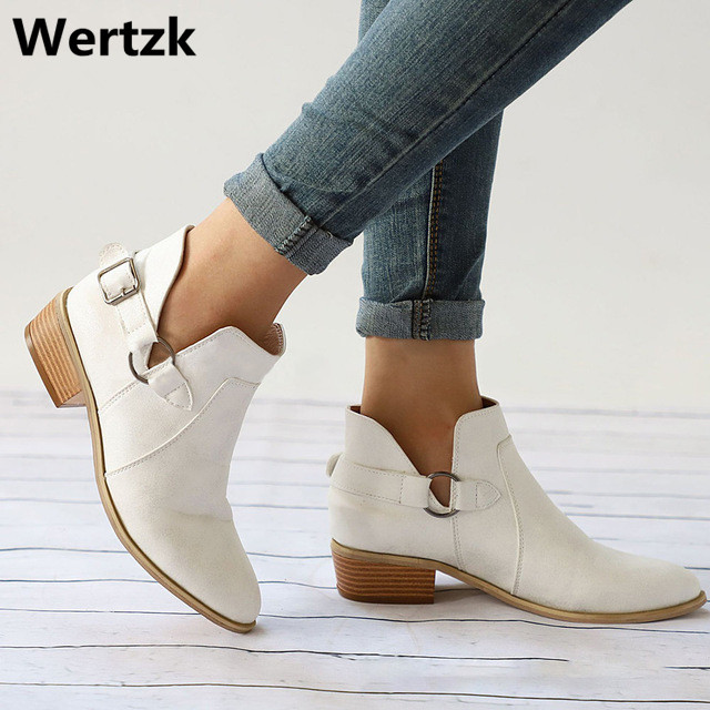 Toka Takunya Topuklu Artı Boyutu Rahat kayma Kısa Çizme Dikiş Ayakkabı Sonbahar Kadın yarım çizmeler Kadın Düşük Topuk Ayakkabı W85