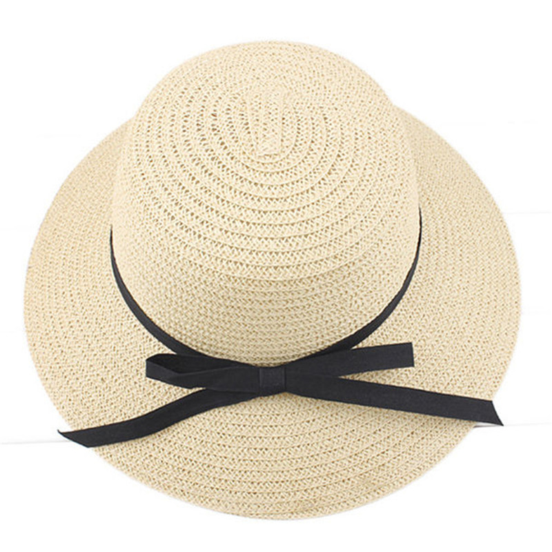 Casual Summer Women Lady Wide Brim Straw Hat Beach Sun Hat Foldable Knot Caps Bohemia Style Cap For Women Dating