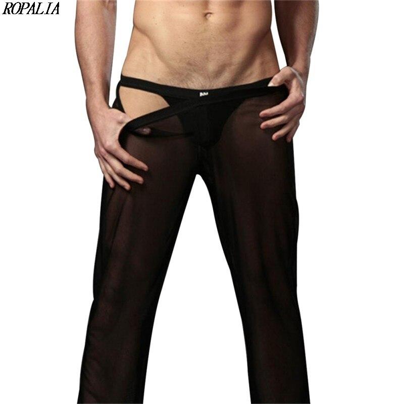 Men\'s Sexy Mesh Sheer See-Through Breathable Loose Fit Pants Straight Leg Nightwear Low Waist Mesh Sleep Bottoms