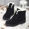 2016 Nuevas mujeres de la Moda de Invierno Botas Cortas de piel de Oveja de Piel Engrosada zapatos Mantienen Botas de Mujer Atan Para Arriba Flock Caliente Del Tobillo de la Nieve botas