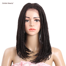 6-16inch Bob Wig Synthetic Lace Front Wig African American Braided Wigs Short Box Braid Wigs for Black Women Golden Beauty