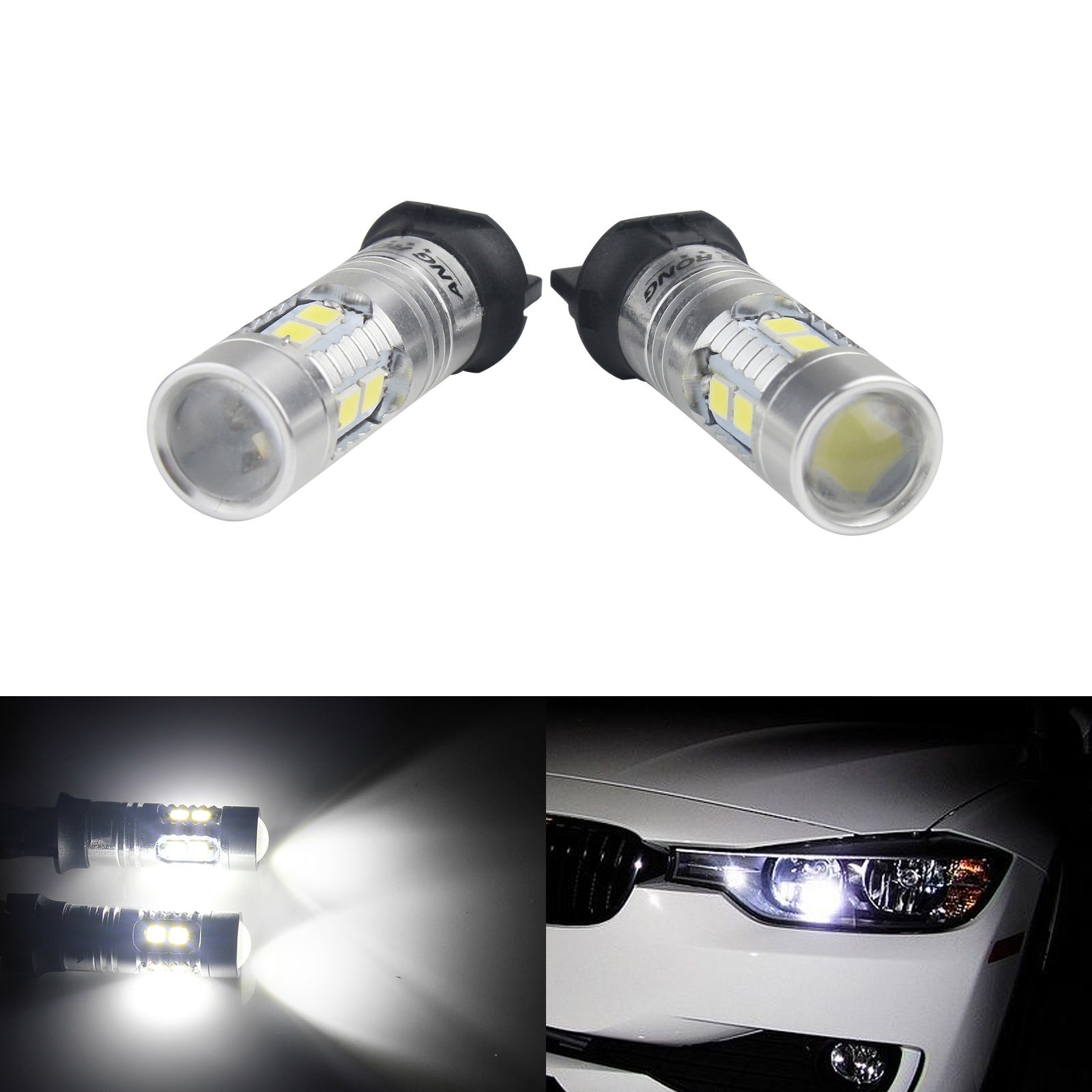 ANGRONG 2 x SAMSUNG SMD 10 LED High Power PW24W <font><b>PWY24W</b></font> DRL Daytime Running Light White image
