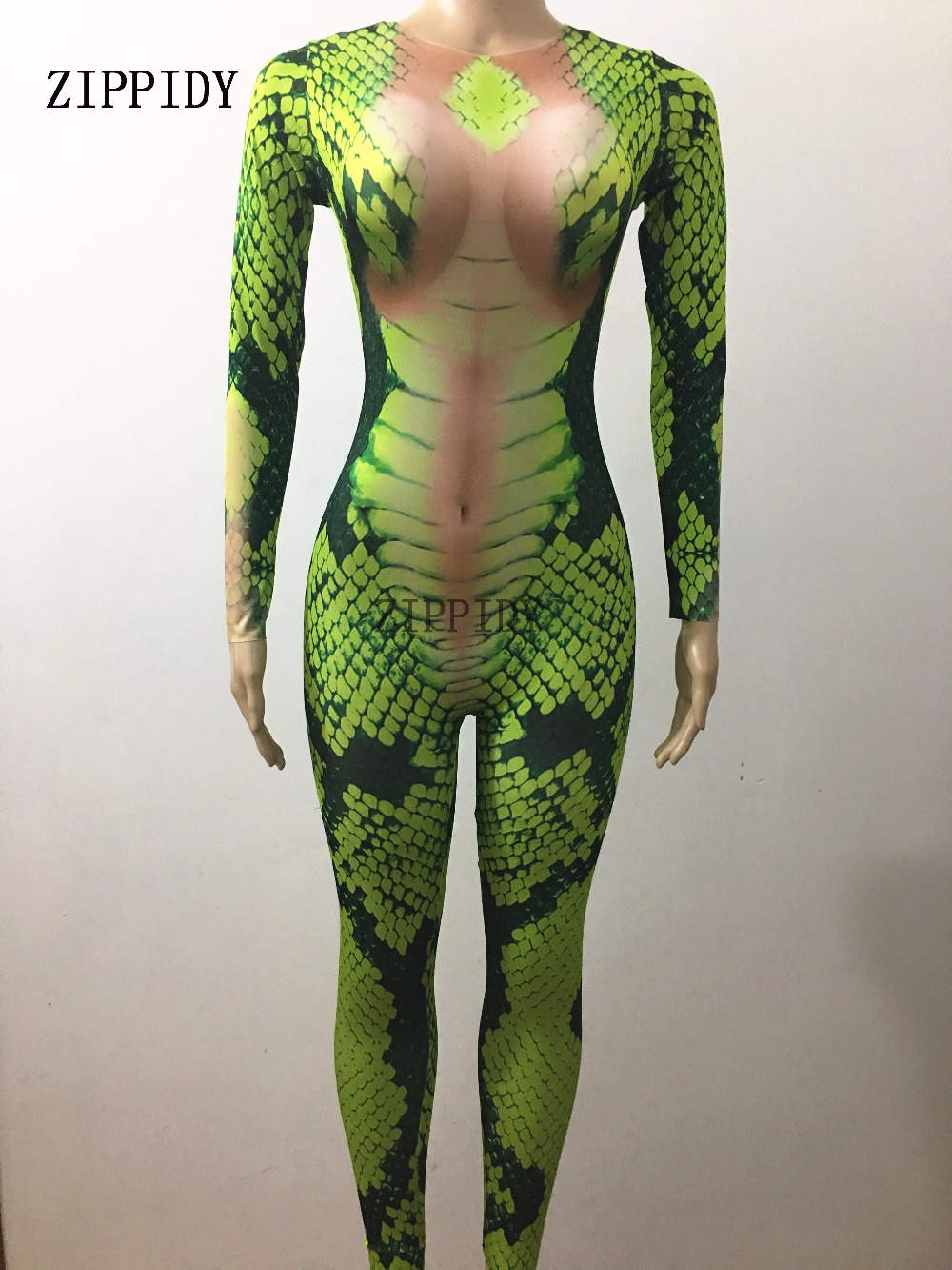 Sexy Green Snake Striae Printed Jumpsuit Skinny Costume Female Singer Nigjtclub Party Show Celebrate Unique Stretch Rompers
