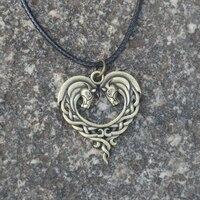12pcs Celtics Double Horse Necklace Heart Horse Pendant Amulet Celtics Jewelry For Gift