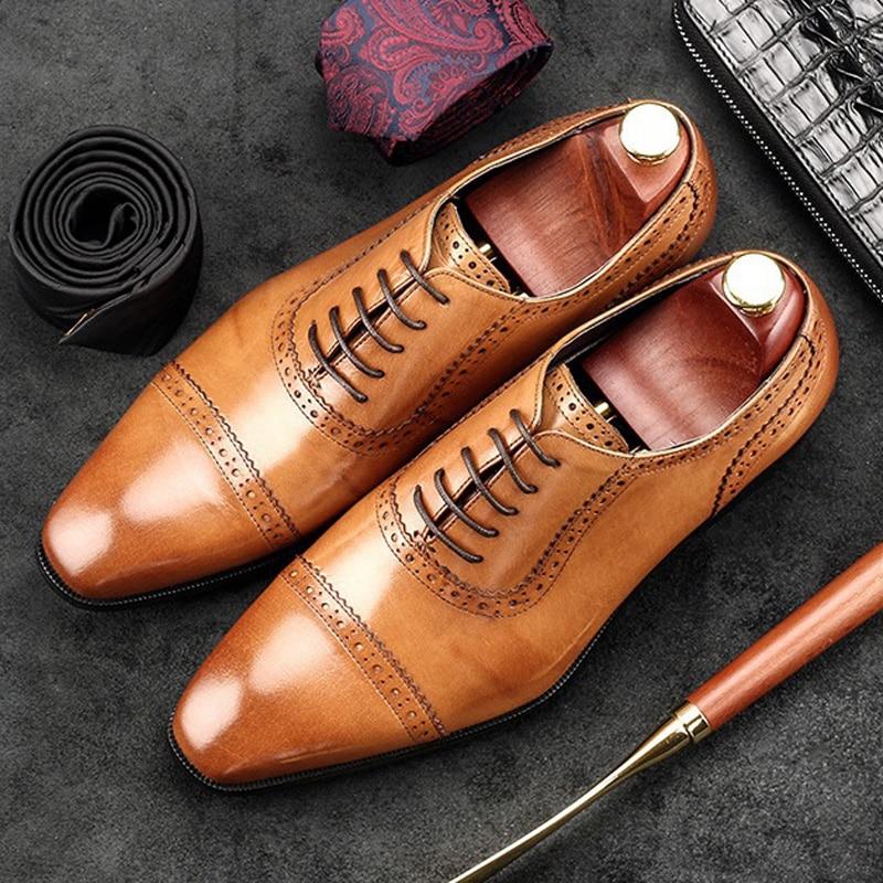 British Designer Man Formal Dress Shoes Vintage Genuine Leather Carved Oxfords Pointed Toe Men s Wedding
