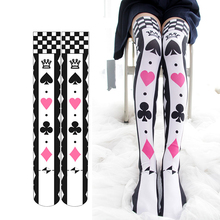 Gothic Alice Poker Lolita Stockings Cosplay Anime Socks Kawaii  Thigh High Japanese School Sock Over the Knee Stocking