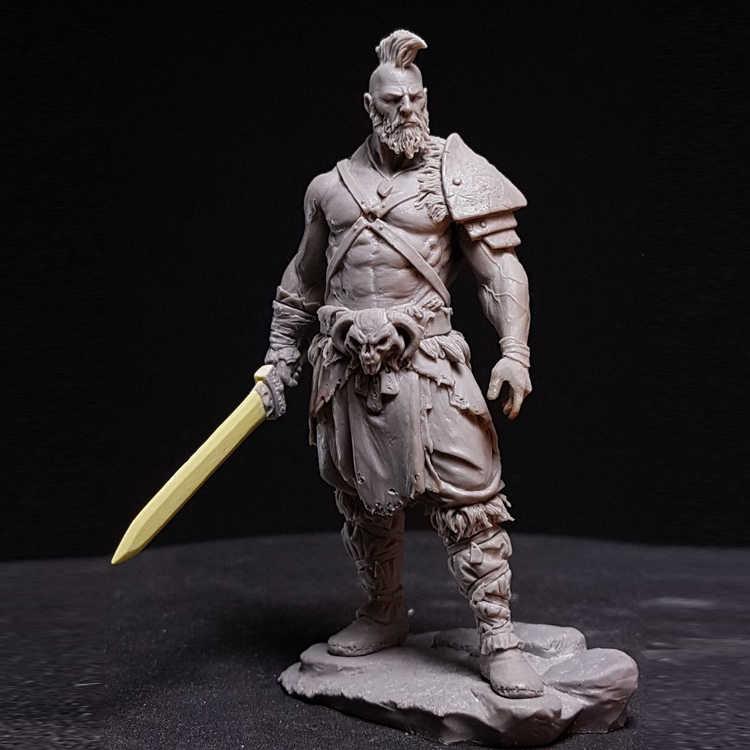 1:24 75mm Resin Figure Model Kit Barbarian King Warrior Unassembled Unpainted