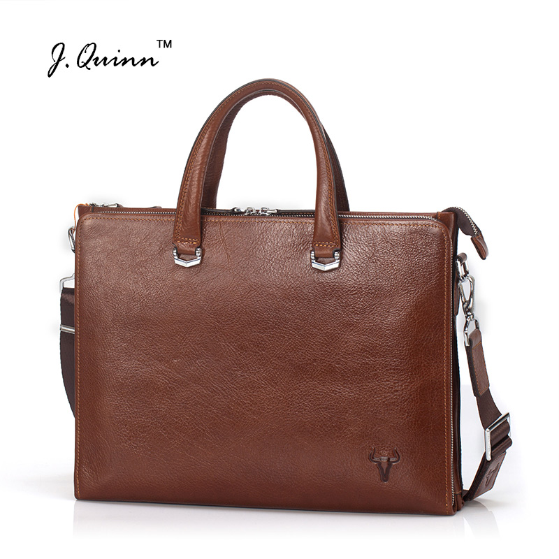J.Quinn Men Business Leather Briefcases Bag Genuine Oil Wax Computer Laptop Shoulder Messenger Bags Office Handbag New 2017 Top