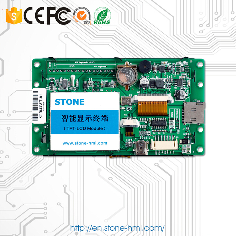 4.3 Inch Programmable Lcd Display Panel With Touch Controller And Serial Interface