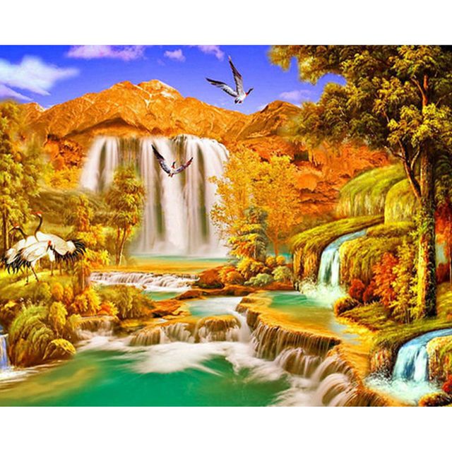 cbe35f21ff Art Crafts Needlework 5d Diy Diamond Painting Autumn Scenery Waterfall Full  Drill Diamond Embroidery Home Decoration Mosaic
