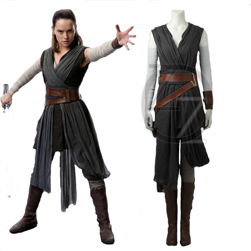 Star Wars 8 Cosplay Costume The Last Jedi Rey Cosplay Costume Outfit Long Coat Full Sets Ver.2 Halloween Costume