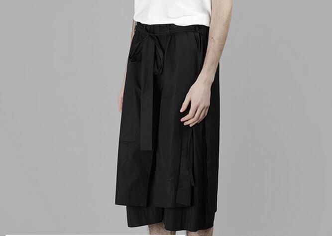 Willensstark 28-42 Heißer 2019 Sommer Männer Neue Mode Multi-schicht Unregelmäßigen Rock Hosen Mit Slits Hosen Breite Bein Hosen