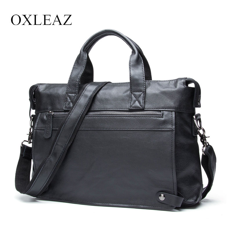 OXLEAZ Soft 14 Messenger Bag Men Leather Laptop Briefcase Male Genuine Leather Business Work Bag Large