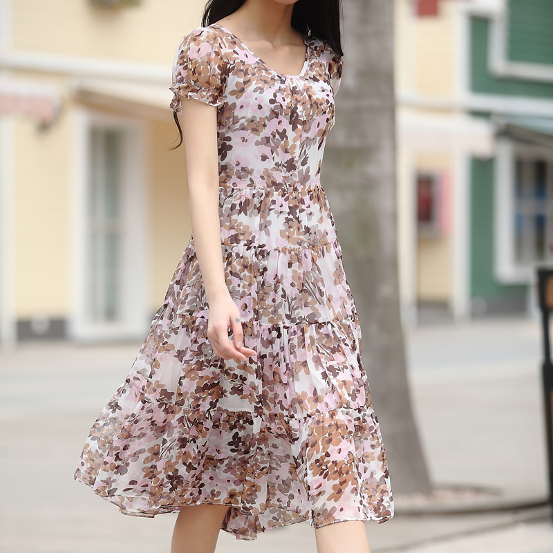 Summer new arrival 2016 fashion high quality full dress short sleeve slim silk one piece dress