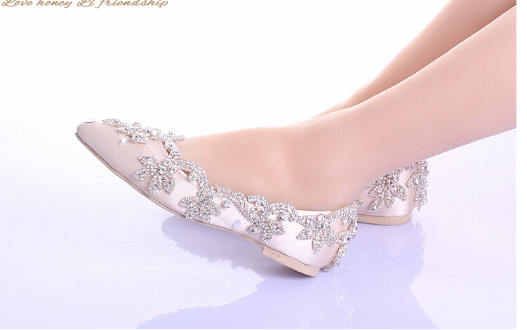 2015 New White Wedding Shoes No Heels With Rhinestones Champagne Zero Heel Prom Party Celebrity Red Bridal Shoe In Womens Pumps From On