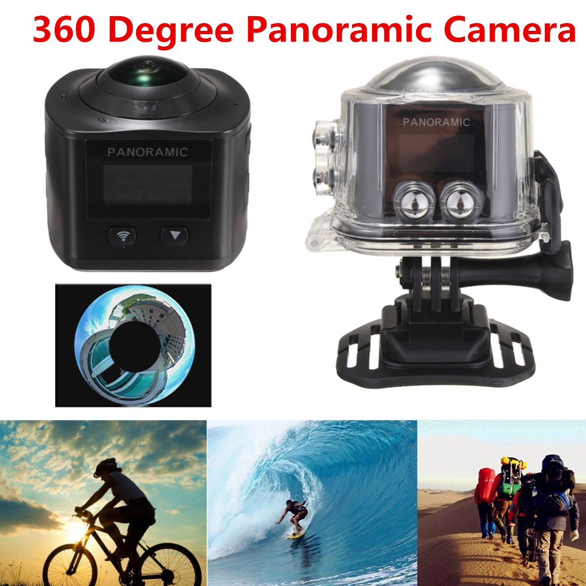 360 Degree Panoramic Camera 3D VR WIFI Function HD Waterproof Action Sports Cam цена и фото