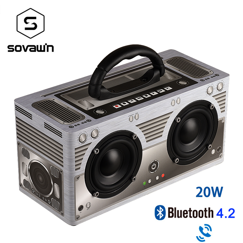 Sovawin W9 Wooden Bluetooth 4.2 Speaker 20W Subwoofer Wireless Portable Handsfree Retro Speaker FM Radio 3000mAh TF AUX For PC|Portable Speakers|   - AliExpress