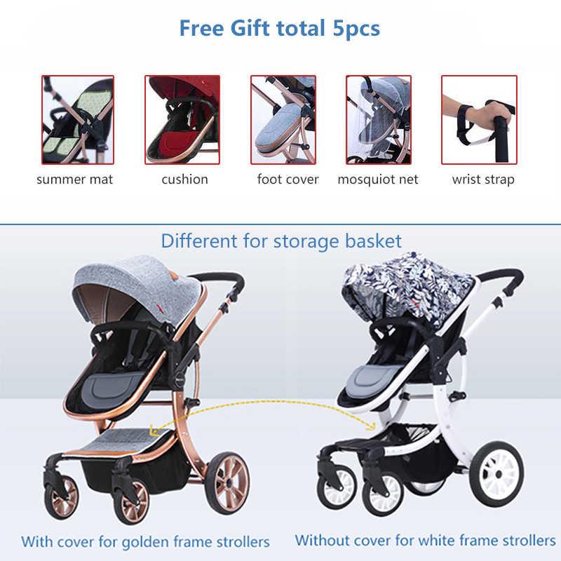 2020 carrinho de criança da ue marca luxo carrinho de bebê 2 em 1 alta paisagem tridimensional quatro carrinhos redondos moldura dourada 9 cores