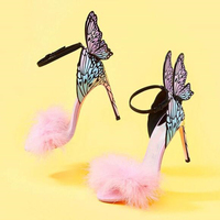 Newest embroidered leather sandals angel wings pumps bridal shoes butterfly ankle wrap high heels sandals fur Dress Sandals