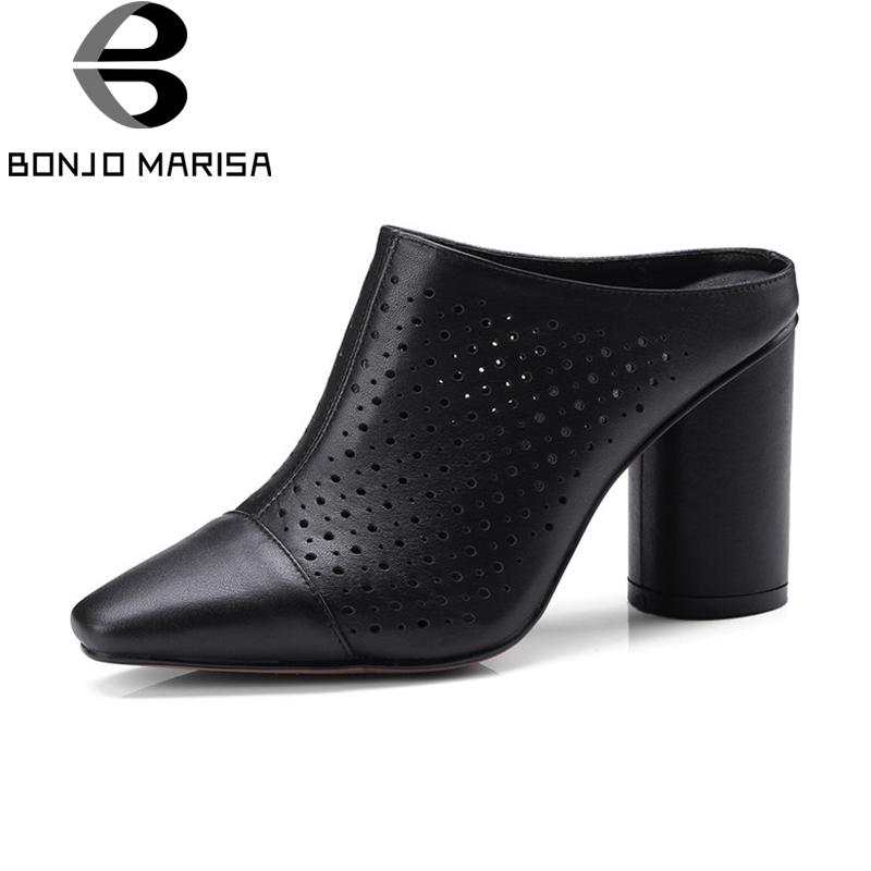 BONJOMARISA 2018 Summer Large Size 33-40 Genuine Leather Mules Hollow High Heels Pumps slip-on Breathable Casual Shoes Woman