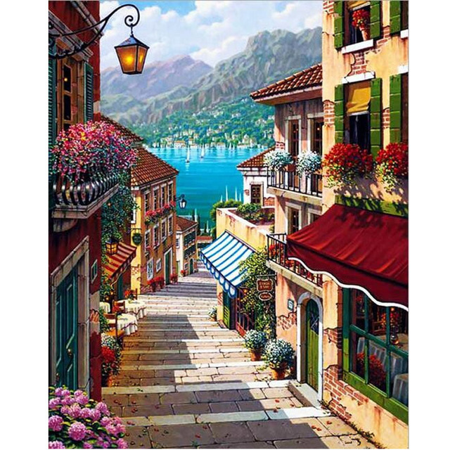 Oil paint painting by numbers diy picture drawing coloring on canvas painting by hand wall paint by number landscape 6413