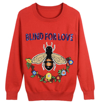 Runway design Bee and floweer embroidery sweater women pullovers autumn winter tops knitted jumper sequin beading letter sweater