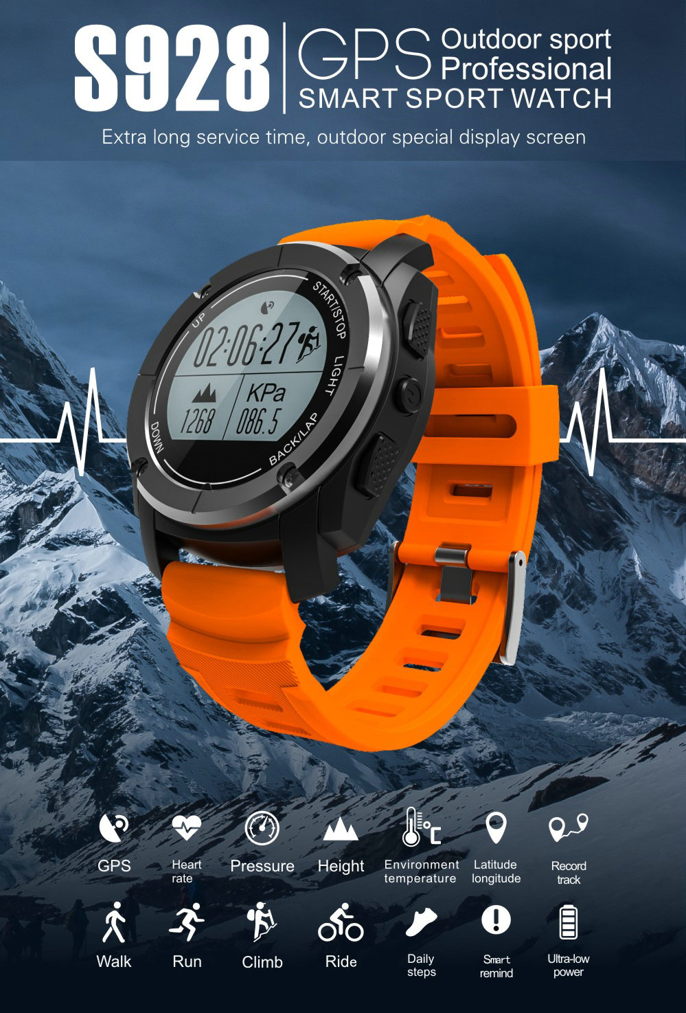 Greentiger GPS Outdoor S928 Smart Watch Heart Rate Monitor Smart Wristband Sport Smartwatch for Android IOS Phone 4