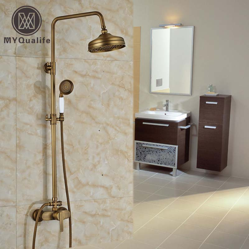 Wall Mount Brass Antique Exposed Shower Mixer Faucet Set
