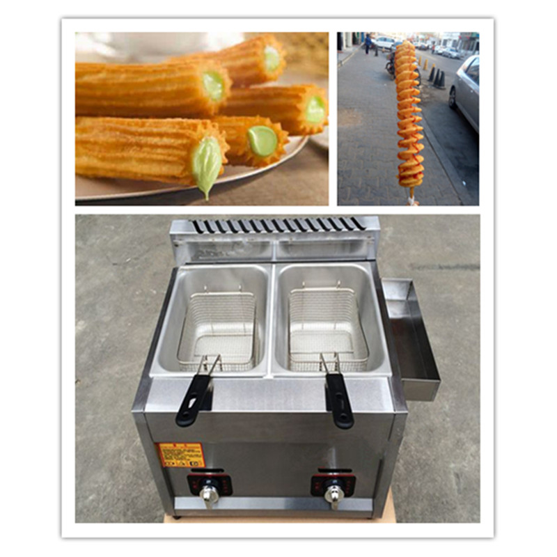 10L gas heating stainless steel 2 tank 2 basket deep frying machine churros fryer ZF 1pc gas type stainless steel food fryer french fries fryer potato deep fryer deep fat gas fryer